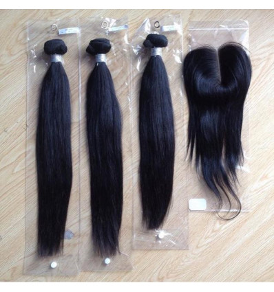 Peruvian Straight Human Hair Extension - Mixed lengths + Closure